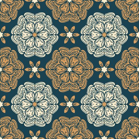 Abstract Christmas flower pattern. Stylized poinsettia floral mandala background. Winter holiday all over print. Festive gift wrapping paper ornament illustration. Seamless vector swatch.