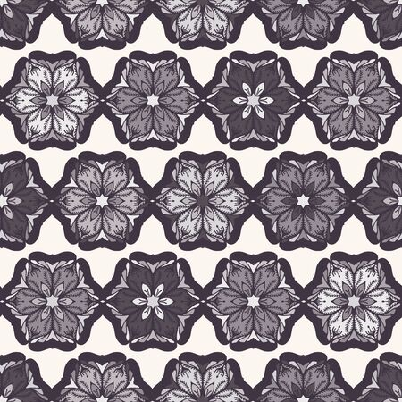 Hand drawn abstract Christmas flower pattern. Stylized poinsettia floral. Black White background. Winter holiday all over print. Festive gift wrap paper ornament illustration. Seamless vector swatch. Vector Illustration