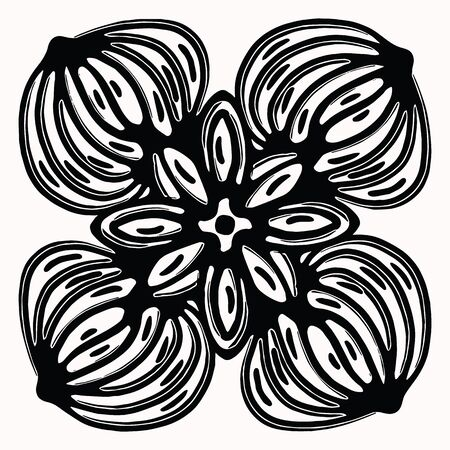Ornamental folk art graphic design element. Hand drawn linocut block print style. Black folkloric clip art. Decorative line flourish motif outline. Arabesque tattoo symbol shape. Drawing sketch.