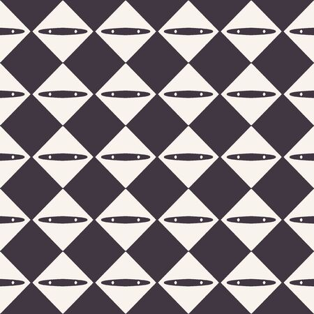 Seamless pattern. Abstract diamond checkerboard background. Monochrome hand drawn texture illustration. Modern classic check. Wall coverings, trendy hipster fashion print. Masculine home decor