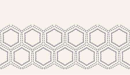Running stitch embroidery border. Victorian hexagon needlework pattern. Hand drawn ornamental textile ribbon. Ecru cream home decor edging. Monochrome honeycomb seamless vector background