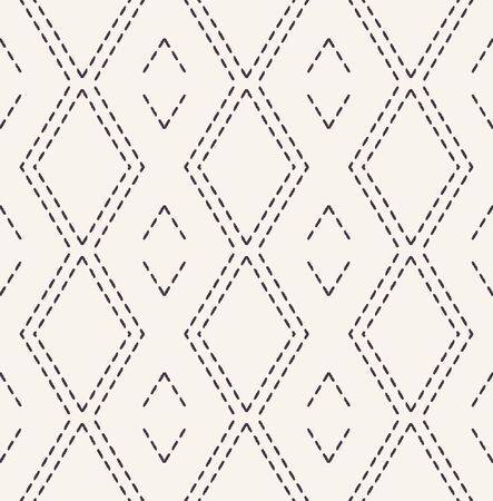 Running stitch embroidery pattern. Victorian diamond needlework seamless vector background. Hand drawn ornamental textile print. Ecru cream handicraft home decor. Monochrome simple chevron 写真素材 - 128314047