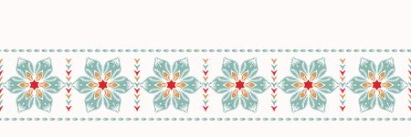 Hand drawn abstract Christmas flower border pattern. Stylized poinsettia floral on white background. Winter holiday ribbon trim. Festive holidays gift wrap washi tape illustration. Seamless vector