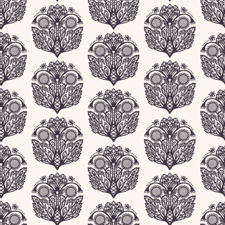 Floral leaf paisley motif persian style. Vector seamless pattern. Arabesque boteh foulard textiles swatch. Classic damask home decor. Traditional ogee motif. Trendy victorian sunflower all over print