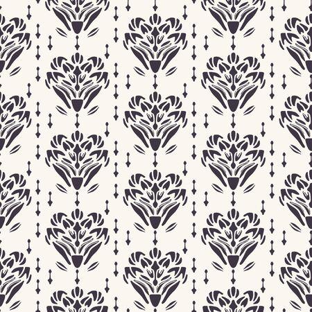 Art Nouveau flower motif Jugendstil style. Vector seamless pattern. Retro arabesque damask textiles swatch. Decorative arts crafts ornamental home decor. Modernist monochrome floral all over print.