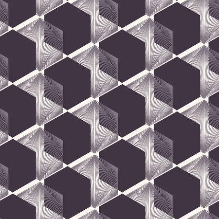 Seamless vector pattern. Linocut hexagonal quilt shapes. Repeating geometrical tile background. Monochrome surface design textile swatch. Modern black white wallpaper, hipster minimal all over print