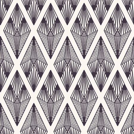 Seamless vector pattern. Linocut striped diamond shapes. Repeating geometrical tile background. Monochrome surface design textile swatch. Modern black white wallpaper, art deco minimal all over print