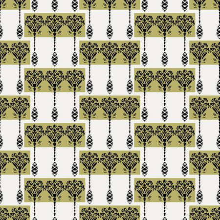 Nouveau flower motif Jugendstil style. Vector seamless pattern. Retro arabesque damask textiles swatch. Decorative arts crafts ornamental home decor. Modernist monochrome floral all over print.
