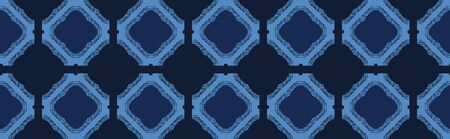 Blue mosaic tile shapes. Vector border pattern seamless background. Hand drawn geometric rounded squares graphic. Trendy retro home decor, boho masculine fashion edging, navy geo ribbon trim. Ilustração
