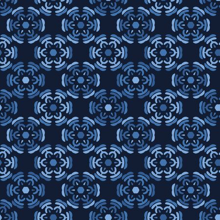 Blue gradient dyed mosaic flower tiles. Vector pattern seamless background. Hand drawn textured style. Ethnic quilt circle illustration. Trendy home decor, men shirt fashion print, wallpaper. Ilustração