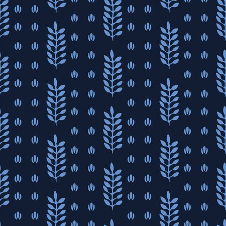 Indigo blue stylized ethnic leaf pattern. Folk art nature carved block textiles background. Japanese dye style monochrome home decor. Trendy plant leaves foliage all over print. Seamless vector swatch Ilustração