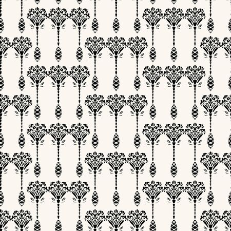 Nouveau ornamental motif Jugendstil style. Vector seamless pattern. Retro arabesque damask textiles swatch. Decorative arts crafts folk art home decor. Modernist trendy monochrome all over print. Çizim