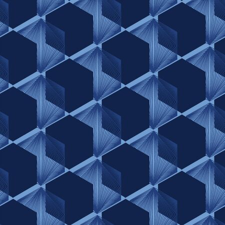 Indigo blue geometric hand drawn 3d cube pattern. Repeating abstract background. Ornamental monochrome geo. Trendy surface design textile. All over print dyed textile. Seamless vector pattern.