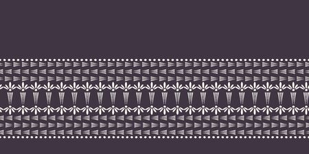 Nouveau ornamental flower motif border. Jugendstil style ribbon trim. Retro floral damask textile tape. Decorative arts crafts folksy home decor. Modernist trendy monochrome. Vector seamless edge 免版税图像 - 128722071