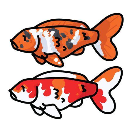 Cute decorative koi fish vector illustration. Orange pond clip art.  Stock Illustratie