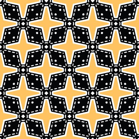 Bold hand drawn star flower quilt. Vector pattern seamless background. Symmetry geometric illustration. Trendy retro 1960s style home decor, decorative fashion print, black yellow wallpaper Stock Illustratie