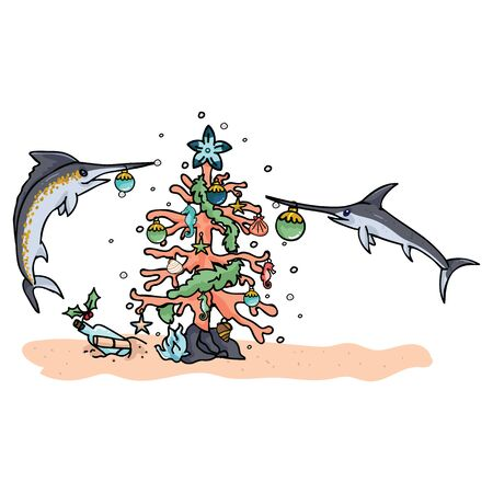Underwater christmas tree with swordfish cartoon vector illustration motif set. Hand drawn isolated seahorse xmas elements clipart for message in a bottle blog, nautical graphic.