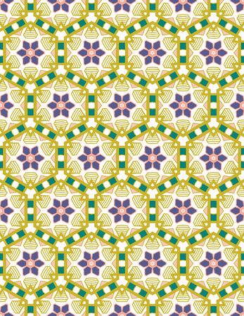 Hand drawn daisy flower mosaic quilt pattern. Vector seamless background. Symmetry geometric floral illustration. Trendy retro geo 1960s style home decor, decorative fashion print. Quilted tile style