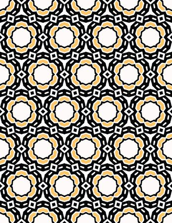 Bold hand drawn circle flower dot quilt. Vector pattern seamless background. Symmetry geometric abstract illustration. Trendy retro geo 1960s style home decor, decorative fashion print, black yellow.