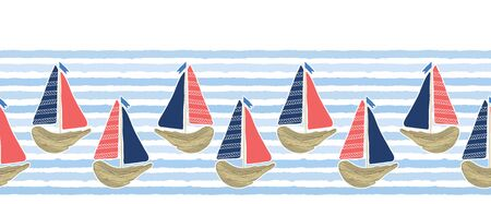 Cute driftwood sailboat on the blue ocean sea border pattern. Marine water stripes seamless background. Nautical sailing vessel fun, cruise fashion textile trim, beach vacation travel banner.