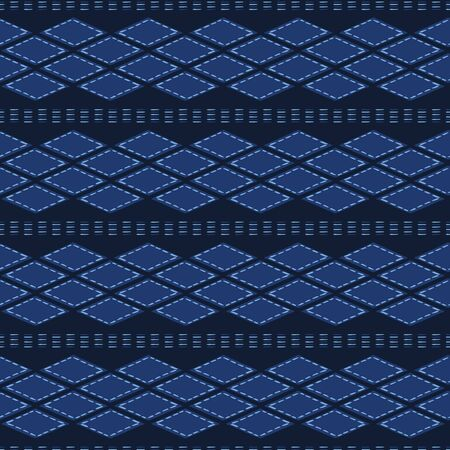 Indigo blue abstract organic tribal shapes. Vector pattern seamless background. Hand drawn textured style. Ethnic illustration. Trendy home decor, men shirting fashion print, navy wallpaper. Ilustração