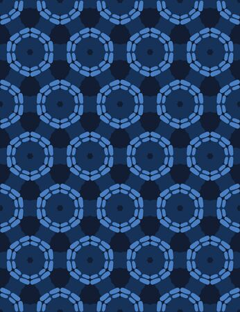 Blue abstract organic cut dotty circles. Vector pattern seamless background. Hand drawn textured style. Polka dot stripes illustration. Trendy home decor. Navy cog wheel spoke fashion print.