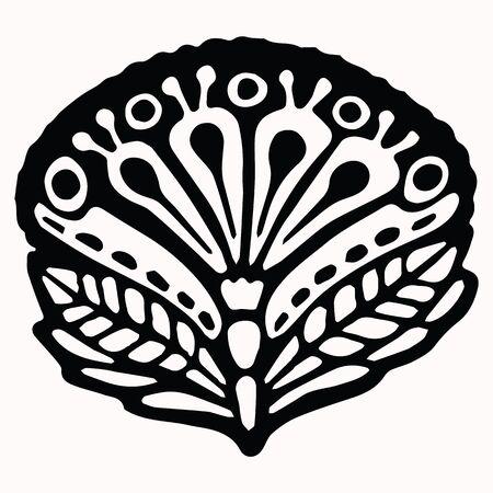 Ornamental folk art graphic design element. Hand drawn linocut block print style. Black clip art decor icon. Decorative paisley flourish motif. Arabesque tattoo symbol shape. Drawing sketch. Illusztráció