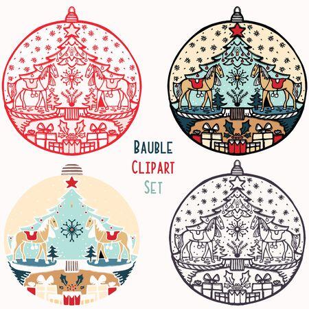 Pferd Spielzeug Weihnachtskugel Ornament Set. Isoliertes festliches Gestaltungselement. Hand zeichnen Winterurlaub ClipArt-Symbol. Festliche Tannenbaum-Vektorillustration für traditionelle Weihnachtsgrußkarte.