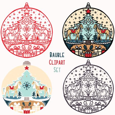 Horse toy Christmas bauble ornament set. Isolated festive design element. Hand draw winter holiday clip art icon. Festive fir tree vector illustration for traditional yuletide greeting card.
