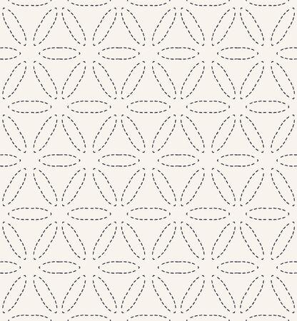 Running stitch embroidery pattern. Simple needlework seamless vector background. Hand drawn geometric floral textile print. Ecru cream handicraft home decor. Monochrome sashiko style.
