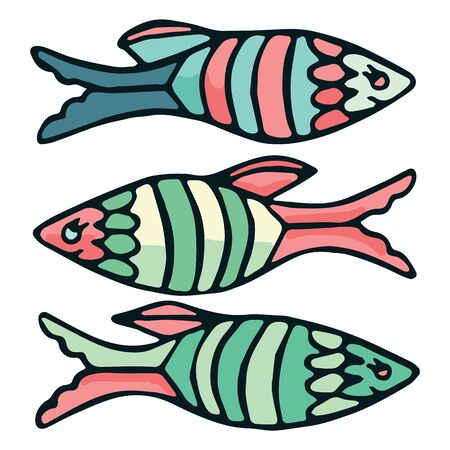 Cute striped fish vector illustration. Decorative nautical clipart.   イラスト・ベクター素材