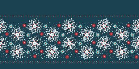 Abstract winter snowflakes border pattern. Stylish crystal stars on green background. Elegant simple holiday banner ribbon. Festive gift wrap washi tape yule illustration. Seamless vector  Illustration