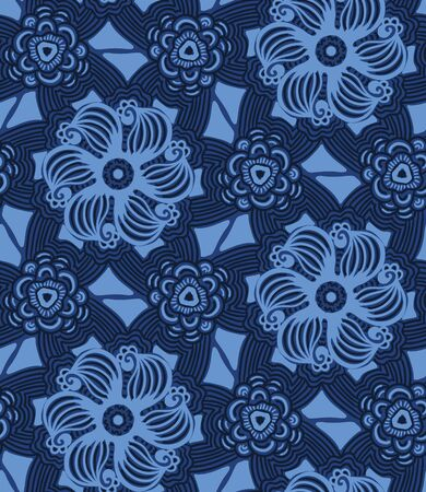 Indigo abstract mosaic flower tiles. Vector pattern seamless background. Hand drawn textured style. Ethnic quilt circle illustration. Trendy home decor, men shirt fashion print, navy wallpaper.