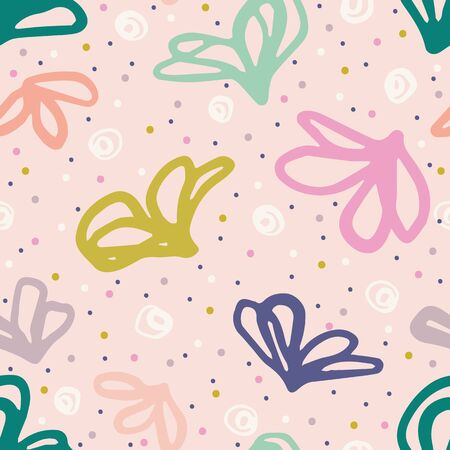 Hand drawn tossed floral pattern. Summer vector seamless background. Trendy feminine illustration. Modern polka dot, 1950s style home decor, decorative floral fashion all over print. Fresh funtextiles
