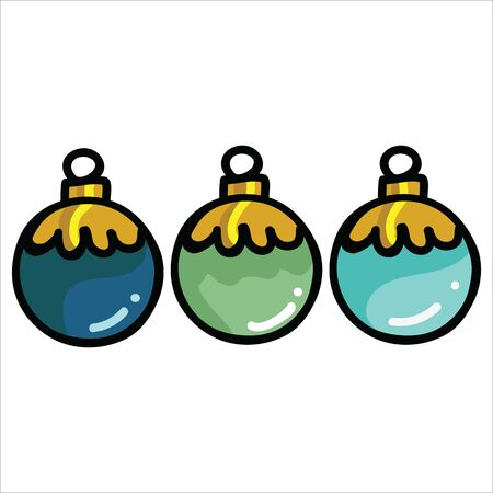 Cute christmas bauble set cartoon vector illustration motif set. Hand drawn isolated festive tree decoration elements clipart for xmas blog, santa graphic. Illustration