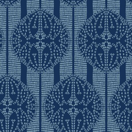 Lotus flower motif sashiko style. Japanese needlework seamless vector pattern. Hand stitched indigo blue lines textile print. Classic japan decor, asian fusion embroidery. Kimono quilting template. Ilustração