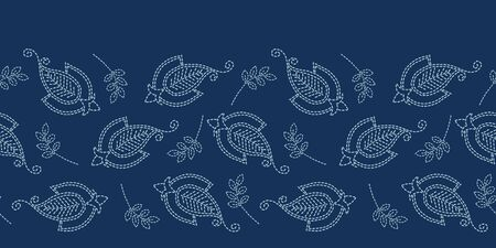 Floral leaf paisley motif sashiko style. Japanese needlework seamless border vector pattern. Hand stitch indigo blue boteh foulard ribbon trim. Classic japan decor. Embroidery kimono quilt template. Иллюстрация