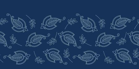 Floral leaf paisley motif sashiko style. Japanese needlework seamless border vector pattern. Hand stitch indigo blue boteh foulard ribbon trim. Classic japan decor. Embroidery kimono quilt template. Illustration