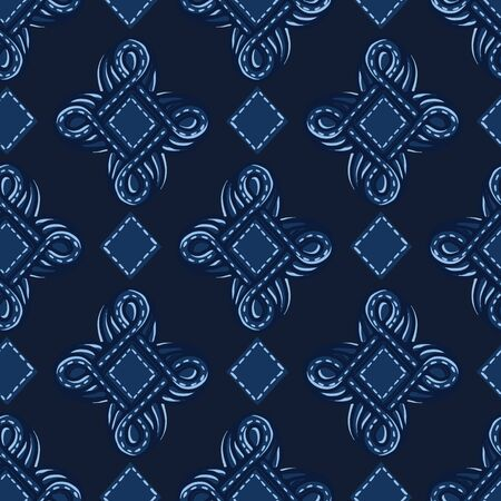 Indigo blue ornament ogee shapes. Vector pattern seamless background. Hand drawn foulard jewel graphic illustration. Trendy retro home decor, baroque masculine fashion print, navy decorative wallpaper