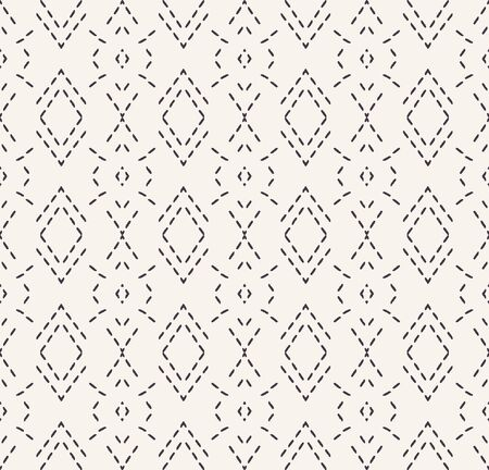 Decorative running stitch embroidery pattern. Victorian diamond needlework seamless vector background. Hand drawn ornamental textile print. Ecru cream handicraft home decor. Monochrome simple chevron Иллюстрация