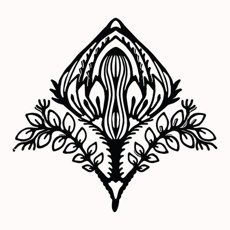 Ornamental flower folk art graphic design element. Hand drawn linocut block print style. Black folkloric flower clip art . Decorative line flourish motif outline. Arabesque nature tattoo symbol shape.  イラスト・ベクター素材