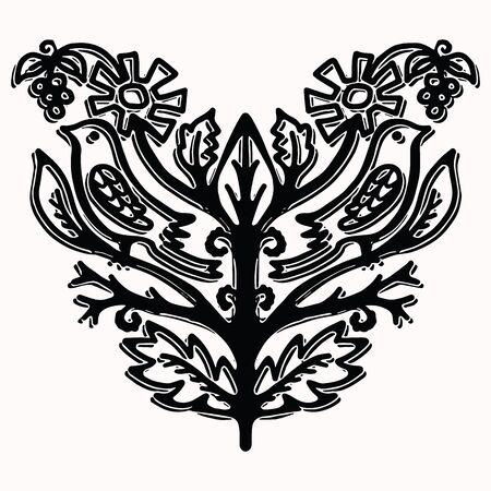 Ornamental paisley bird folk art elements for design. Hand drawn linocut block print style. Black folkloric songbird clip art . Decorative animal flourish motif outline. Arabesque tattoo symbol shape.