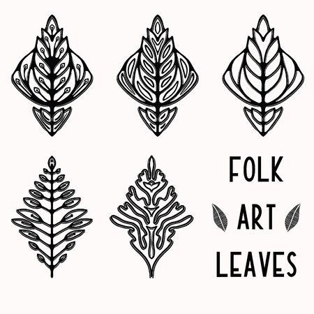 Ornamental leaves folk art graphic design element set. Hand drawn linocut block print style. Black folkloric leaf clip art collection . Decorative flourish motif outline. Nature tattoo symbol shape.  イラスト・ベクター素材