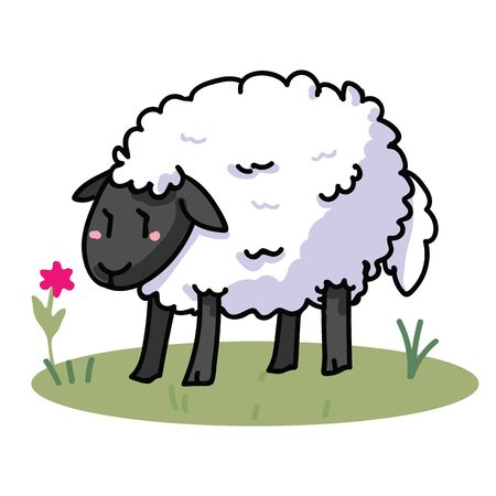Cute sheep cartoon vector illustration motif set. Hand draawn isolated agriculture livestock elements clipart for farming blog, wooly graphic, mutton web buttons.