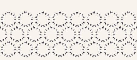 Decorative fern stitch embroidery border pattern. Polka dot circle stripes needlework. Hand drawn textile ribbon trim . Ecru cream home decor. Monochrome simple background. Seamless vector background
