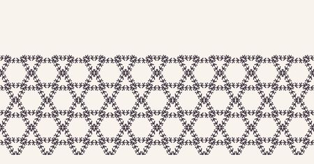 abstract line art,honeycomb,hexagonal,hexagon,running stitch,embroidery,seamless vector border,endless band,masking washi tape,repeating bordure,banner ribbon,edge trim,continuous edging,trimming,grid 写真素材 - 129397953