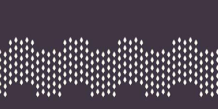 Modern geometric hand drawn wavy border. Repeating abstract curved shapes ribbon trim. Ornamental monochrome geo. Trendy ecru cream tribal surface design. Seamless gray vector edging background. Ilustração
