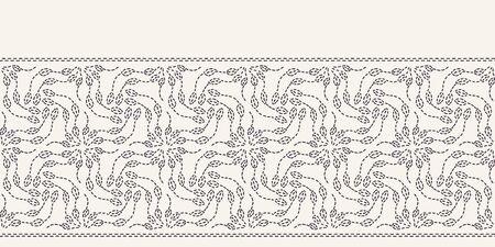 Leaf running stitch embroidery border pattern. Simple needlework Hand drawn geometric floral mosaic. Textile ribbon trim. Ecru cream home decor. Monochrome sashiko style. Seamless vector background