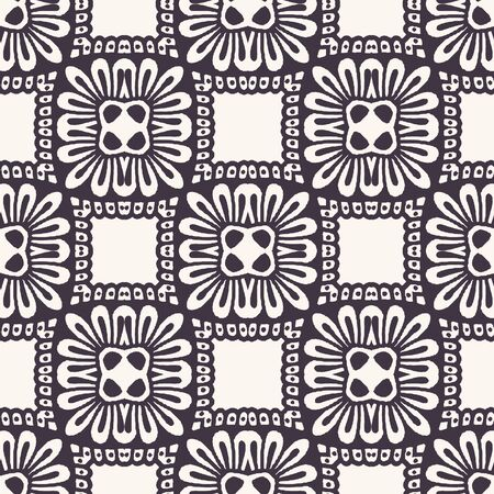 Seamless vector pattern. Hand drawn mosaic tile shapes. Repeating geo floral background. Monochrome surface design textile swatch, modern daisy black white wallpaper, arabic turkish all over print