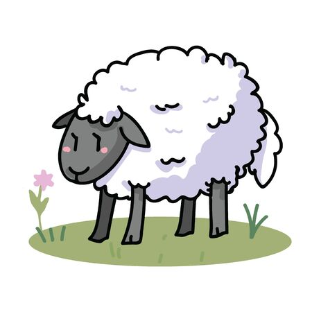 Cute sheep in a field cartoon vector illustration motif set. Hand draawn isolated agriculture livestock elements clipart for farming blog, wooly graphic, mutton web buttons. Stok Fotoğraf - 129398022